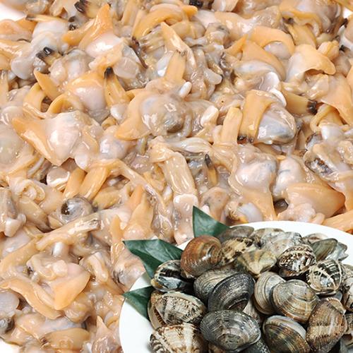 [국내산] 껍질제거된 깐 냉동 바지락살 1kg